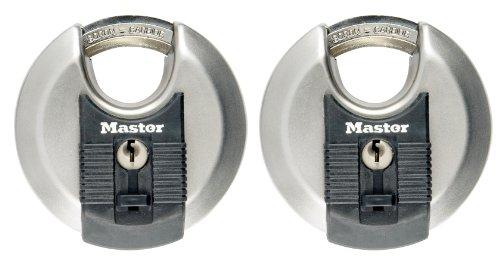 MASTER LOCK - 2er Set Disc-Schlösser mit Schlüssel für Außenbereich, Hochsicherheitsschlösser mit hoher Korrosionsbeständigkeit, 70 mm