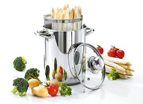 Culinario, pentola per verdure, per asparagi, in acciaio inox, diametro di 16 x 21 cm, con coperchio in vetro e cestello, per pasta, spaghetti, salcicce, di Karl Krger