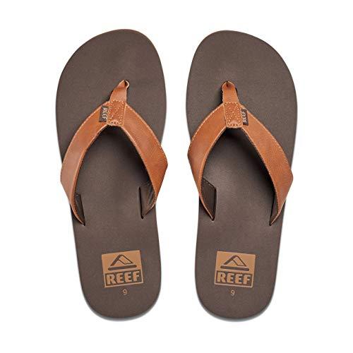 Reef Men's Sandal Twinpin |Comfortable Men's Flip Flop with Vegan Leather Upper | Brown | Size 9