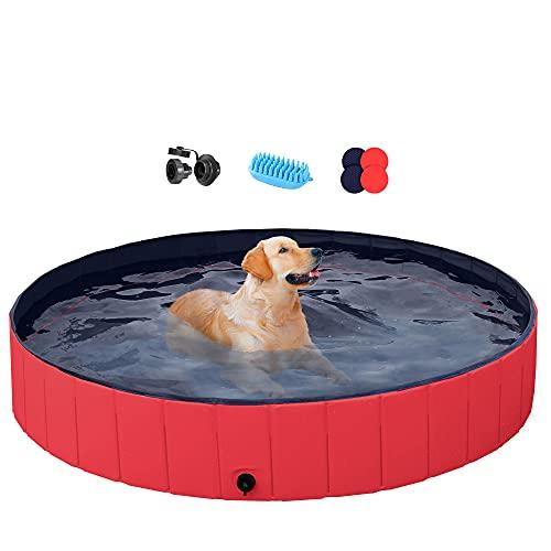 YAHEETECH Red Foldable Hard Plastic Dog Pet Bath...
