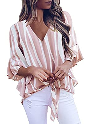 Sexy striped v neck tops,you will never out of style for this classic pattern,a perfect gift for your friends,roomate and yourself. Striped v neck blouses with self tie knot front,meet your fashion taste! Casual loose fit fall off the shoulder shirt ...