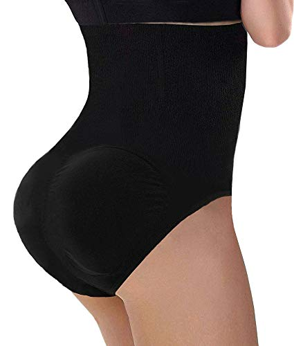 CeesyJuly Women Butt Lifter Waist Control Belly Slimming Body Shaper Padding Panties Black