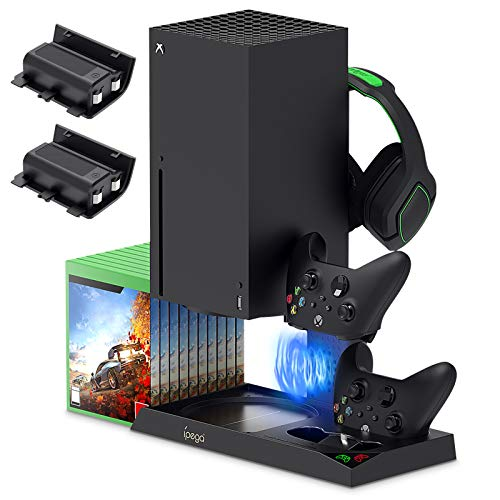 Vertikaler Ständer für Xbox Series X mit Lüfter, Controller Ladestation mit 2 x 1400mAh Wiederaufladbarer Akku, Standfuß für Xbox Series X Konsole, Headset, Game Disks