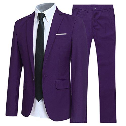 Traje de 2 piezas para hombre compuesto por chaqueta y pantalones, ajuste estrecho, para boda, cena,negocios, casual, disponible en 10 colores Morado Morado ( M
