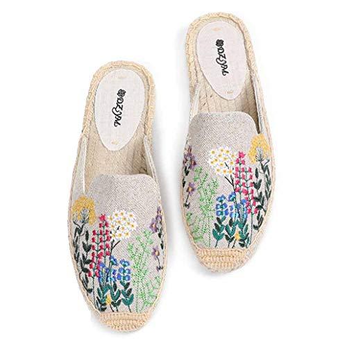 Alpargatas de Mujer Bordado de Flores de Verano Costura Deslizamiento de cáñamo en la Parte Superior Baja Punta Cerrada Mulas Casuales Zapatillas Transpirables Ligeras para Mujer