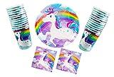 Unicorn Disposable Birthday Dinnerware Set Bundle - Rainbow Unicorn Party Supplies - Includes 32 Paper Plates, 40 Napkins & 36 Cups.