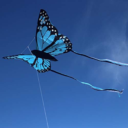 Wolkenstürmer Bella Butterfly Blau Lenkdrachen für Kinder - 1-Leiner Kinderdrachen mit Gestänge