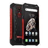 Ulefone Armor 6S Telephone Portable Incassable Android 9.0 FHD+ 6.2 Pouces, Octa-Core, 6Go + 128Go, Dual SIM (Nano), UV Détection, Batterie 5000mAh, Smartphone Débloqué IP68 / IP69K, NFC, OTG, Rouge