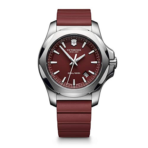 Victorinox Men's I.N.O.X. Stainless Steel Swiss-Quartz Watch with Nylon Strap, red, 21 (Model: 241744.1)