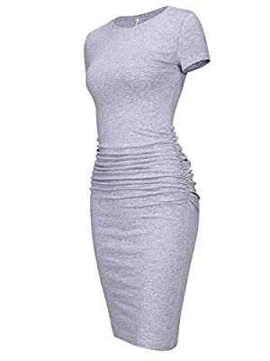 Fabric:95%COTTON+5%polyester,stretchy cotton,not see through,easily dress up or dress down Features:midi length,short sleeve,round neck,side ruched,regular thick,casual bodycon dress US Size:X-Small(US 0-2 ),Small(US 4-6 ),Medium(US 8-10 ),Large(US 1...