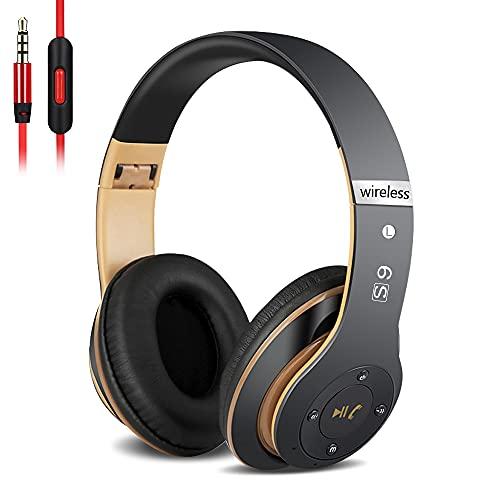 6S Over-ear Wireless Cuffie, Cuffie Wireless Bluetooth Cuffie Wireless Stereo Pieghevoli ad Alta Fedelt, Microfono Incorporato, Micro SD/TF, FM