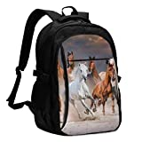 asfg Resistente a Las Manchas Group of Horses Running Multifunctional Personalized Customized USB Backpack, Student School Outdoor Backpack,Travel Bag Laptop Bookbags Business Daypack.