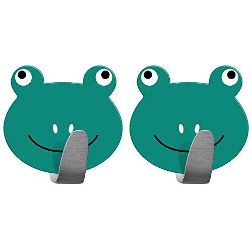 Tatkraft Frogs   Stabile Handtuchhaken Badezimmer, Kinderzimmer   2 Stück Selbstklebend   Aus robustem Edelstahl  Humorvolles Design für jedes Alter