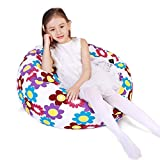 Stuffed Animal Storage Bean Bag Chair Cover for Kids and Adults, Storage Bean Bag with Zipper for Organizing Kids Stuffed Animals, Bean Bag Cover (No Beans), Large/Flowers White