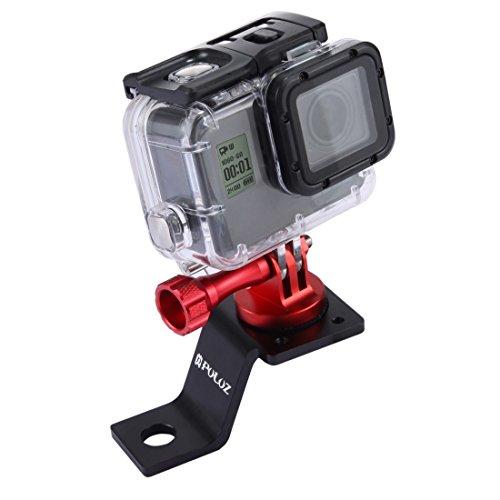 PULUZ Accessori Moto Specchio/bullone Supporto Fisso Metallo Bici Supporto per GoPro Hero 5 4 sessione Nero Argento 4 3 3 2 Sport Action Camera (Rosso)