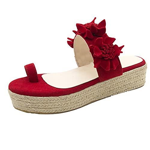 Sandalias de Plataforma sin Cordones de Flores para Mujer, Sandalias de juanete Chanclas con cuña ortopédica Zapatillas diarias Playa Verano