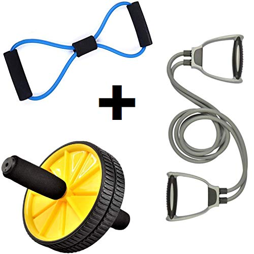 Bolditech AB Roller, Dual-Wheel with Thick Knee Pad for Abdominal & Core Workout & Double Toning Tube Exerciser with D Handle Fitness Rope With Soft Figure 8 Yoga Resistance Exercise Band for Home Gym