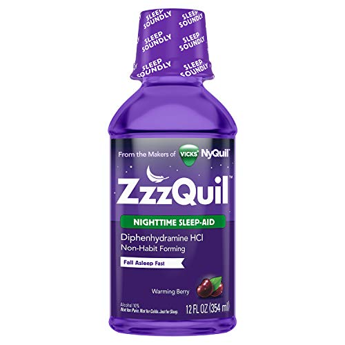 ZzzQuil, Nighttime Sleep Aid Liquid, 50 mg Diphenhydramine HCl, No.1 Sleep-Aid Brand, Warming Berry Flavor, Non-Habit Forming, 12 FL OZ