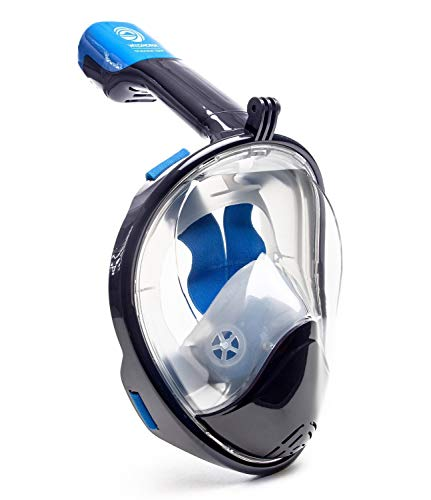 WildHorn Outfitters Seaview 180 Degree Panoramic Snorkel Mask- Full Face Design,Panoramic Navy Blue/Gray,Large/Extra Large (Renewed)