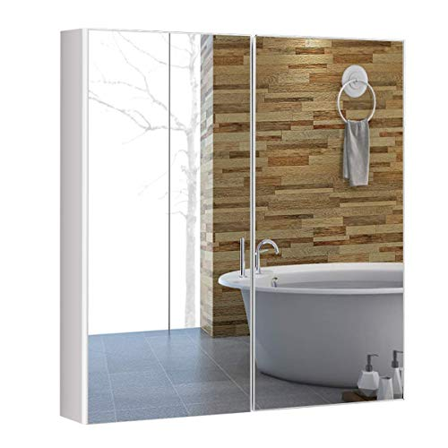 COSTWAY Spiegelschrank Bad, Wandschrank mit Spiegel, Badezimmerspiegelschrank weiß, Hängeschrank Holz, Badezimmerspiegel 65x62x11,5cm