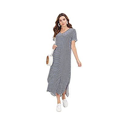 "Rayon spandex t-shirt dress features short sleeves and side slits at curved midi-length hem. Measures approximately 47"" from shoulder to hem on size small. MACHINE WASH COLD WITH LIKE COLORS GENTLE CYCLE DO NOT BLEACH DRY FLAT COOL IRON IF NEEDED Spe..."