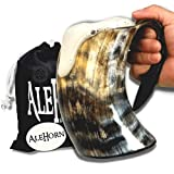 AleHorn Viking Drinking Horn - 16 ounces | 100% Authentic Ox Horn Mug for Beer, Ale, Mead | Viking Gifts For Men (1 Pc) | Weddings, Dad Gift, Beer Festival, Renaissance Faire Accessories