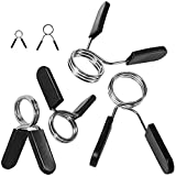 """Spring Clips by D1F, Set of 2 - for 2"""" Olympic Barbell Weight and Plates - Spring Lock Collars for Weightlifting, Strength Training, Working Out - Firm Grip, Plate Weight Clamps for Gym Bars"""