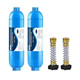 RV Inline Water Filter with Flexible Hose Protector, NSF 42/372 Certified, Reduce Chlorine, Odor, Taste, Rust and Fluoride in Drinking Water, Dedicated for RVs and Marines, Pack of 2