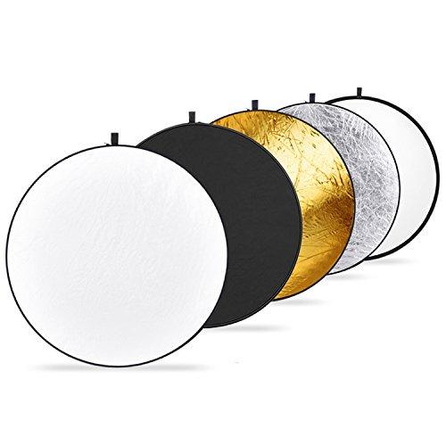 Neewer® 5 in 1 Faltreflektoren Set Reflektor (110CM Ø) Gold, Silber, Weiß, Schwarz und transparent für Studio und Foto Diffusor