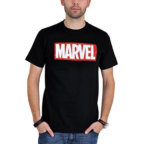 Marvel - Maglietta a Maniche Corte con Logo - Serie Comic Fans - Nero - L