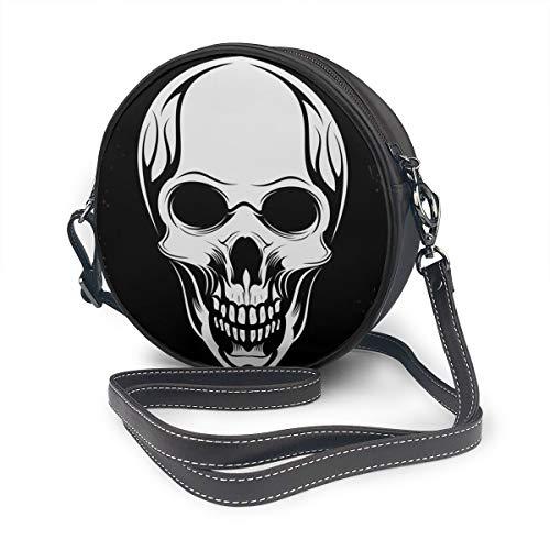 Architd Badass Totenkopf-Schnorcheltasche, runde Handtasche, Umhängetasche, PU-Leder mit Reißverschluss, Schultertasche, rund, für Damen, personalisiert