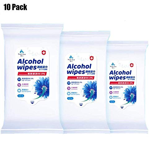 Effortsmy Disinfectant Wipes, (10Packs,100Wipes) 75% Alcohol Wet Wipes Suitable for Family All Daily Protection