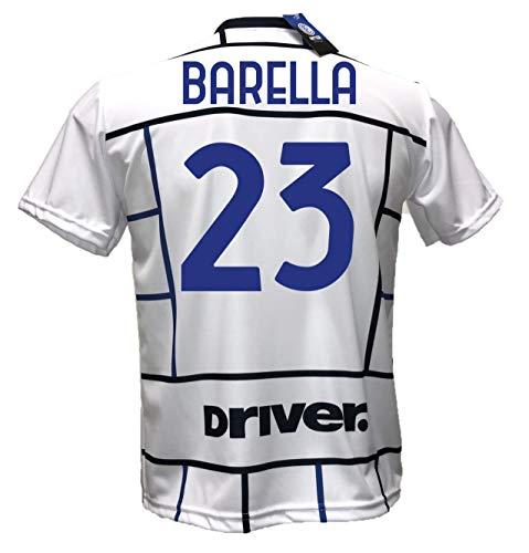 DND DI D'ANDOLFO CIRO Seconda Maglia Bianca Inter Away Calcio Barella 23 Replica Autorizzata 2020-2021 Taglie da Bambino e Adulto (6 Anni)