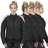Viking Cycle Ironborn Armored Motorcycle Textile Riding Biker Jacket for Women (Pink, XX-Large)