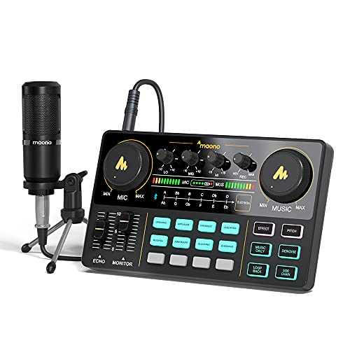 Interfaccia audio con mixer DJ e scheda audio, Maonocaster Lite Portable ALL-IN-ONE Podcast Production Studio con microfono da 3,5 mm per chitarra, live streaming, PC, registrazione(AU-AM200-S1)