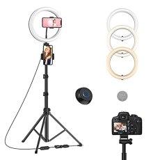 Luce ad Anello, 10'' Ring Light per Selfie con Treppiede, Anello LED con Telecomando Wireless, con 3 Modalità di illuminazione e 10 Luminosità, per Youtube, TikTok, Autoritratto, Streaming live
