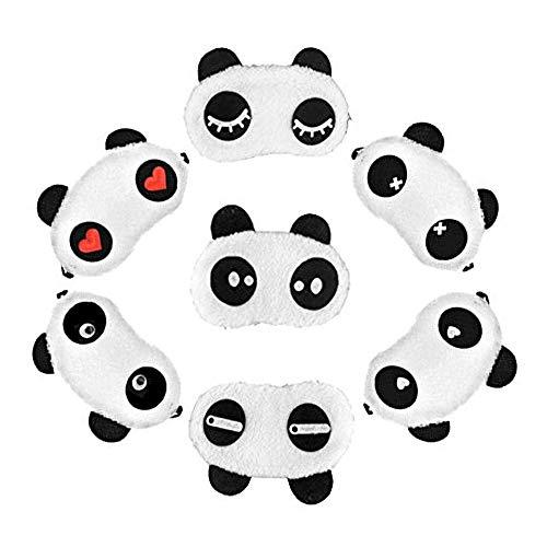 7 pcs Masque de Sommeil de Voyage Masque Panda pour Enfant Pyjama Fête