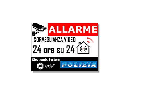 Egero - 8x pegatinas disuasorias 'alarma de policía de videovigilancia' antirrobo para el hogar, la construcción, el comercio y el garaje.  Pegatinas de videovigilancia de calidad profesional.