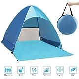 QcoQce Tente Anti UV, Abri de Plage avec Protection Solaire UV UPF 50+ pour 2-3 Personnes,Tente de Plage...