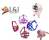 L&J Pets Uk Dog Muzzle for Shih Tzu, Pug and other flat face short snout dog's (M1, Pink)