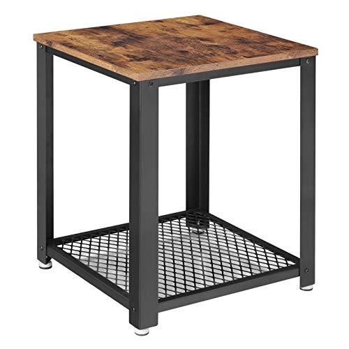 VASAGLE Tavolino da caffÈ Comodino per Divano Gambe in Metallo Stile di Vintage e Vissuto per Soggiorno Camera da Letto Cucina LET41X