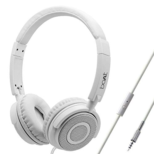 boAt Bassheads 900 Wired On Ear Headphones with Mic (Pearl White)