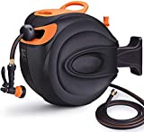 Garden Hose Reel, Auto Retractable Hose with Wall Mount, 65 ft Water Hose Reel+7ft Lead Hose, 180° Pivot, 7 Patterns Spray Nozzle, Suitable for Garden Watering, Car/Machine Washing - Screws Included