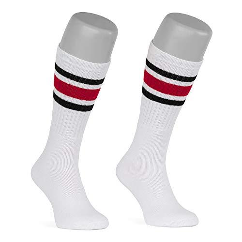 Skatersocks - Calzini da donna a righe, 19 pollici, a righe, stile retr, colore bianco, nero/rosso, tinta unita
