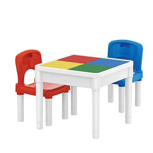 deAO Centro attività 3in1 Tavolino Multiuso per l'Apprendimento e creatività dei Bambini Set Include 2 Sedie
