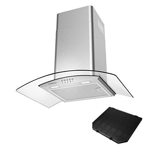 CIARRA CBC6S506 Cappa Aspirante 60 cm,cappa da cucina,370 m/h, Controllo Pulsanti, Filtro per CBCF004, Luce LED, Vetro, Cappa Camino Cucina