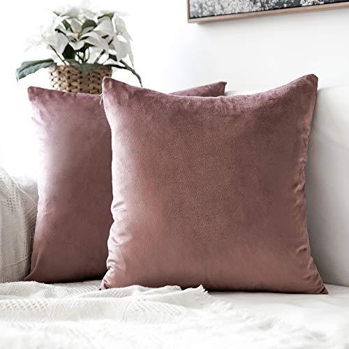 MIULEE Confezione da 2 Federe in Velluto Copricuscini Decorativi Fodere Quadrate per Cuscino per Divano Camera da Letto Casa40X40cm Marrone Rosa