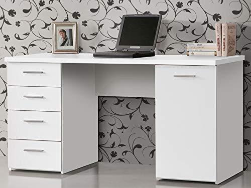 möbelando Schreibtisch Bürotisch Computertisch Arbeitstisch Laptoptisch Büromöbel Balu I Weiß Matt