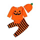 Halloween Baby Boy Girl Outfit My 1st Halloween Day Letter Print Romper+Pants+Hat 3Pcs Pumpkin Clothes Set (Ghost face, 3-6 Months)
