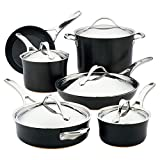 Anolon Nouvelle Copper Hard Anodized Nonstick Cookware Pots and Pans Set, 11 Piece, Onyx